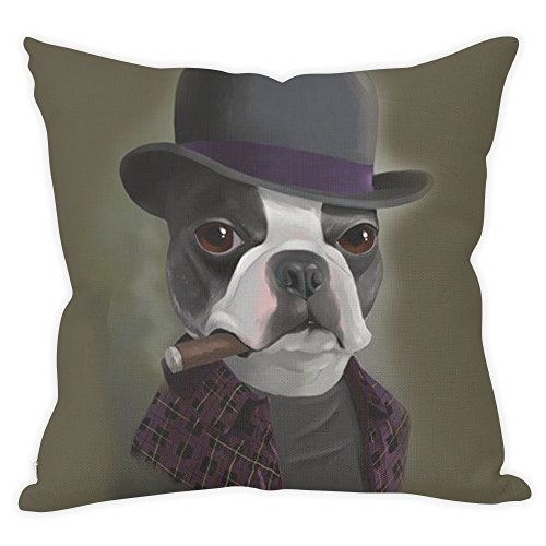Whiterbunny Bowler Hat Terrier with Cigar Throw Pillow Cover Case, Customized Polyester and linen 18 x 18 Inches Decorative Pillowcase