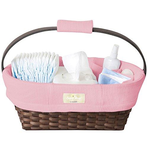 Munchkin Sarabear Portable Diaper Caddy, Pink Waffle (Diaper Gift Baskets)