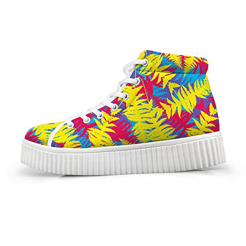HUGSIDEA Sweety Style Womes Teen Girls High-top Flat Fashion Platform Sneakers Lace-up Shoes US9 (Sneakers Womes)