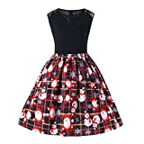 WOCACHI Final Clear Out Christmas Dresses Womens Sleeveless Vintage Santa Claus Tea Swing Dress A Line Bells Reindeer Xmas Evening Prom Costume Maxi Mini Knee Length (Red, XXX-Large)