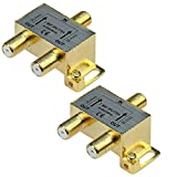 iMBAPrice 10013-2 (2-Pack) Glod Plated 2.4 Ghz 2-Way Coaxial Cable Splitter F-Type Screw