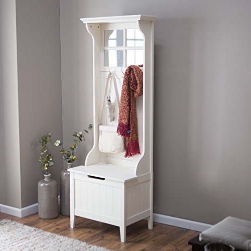 Hall Tree, Beautiful Birch Veneer Panels and Solid Wood Frame, Bead Board Paneling, Fresh Antique White Finish, 3 Double Hooks, Paned Mirror Top; Under-Seat Storage, Clean, Classic Style (Tree Bead Frame)