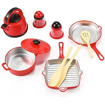 Awesome Kitchen Cookware Pots And Pans Playset For Kids With Kettle, Cooking  Utensils Set, Salt