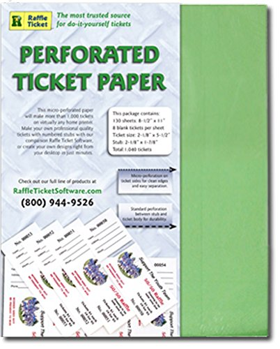 amazon com perforated ticket paper green 24lb bond printer and