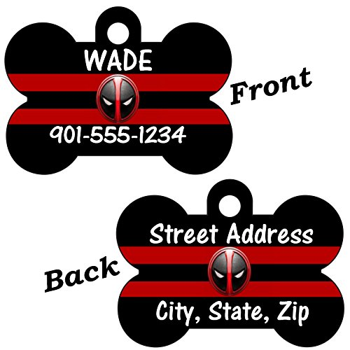 Product image of Marvel Deadpool Double Sided Pet Id Tag for Dogs & Cats Personalized with 4 Lines of Text
