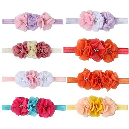 kingko® Baby drei Chiffon Blumenkopf mit Baby Perle Blume Haarband Weiß