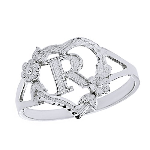 (CaliRoseJewelry 10k Initial Alphabet Personalized Heart Ring in White Gold (Size 8) - Letter R )
