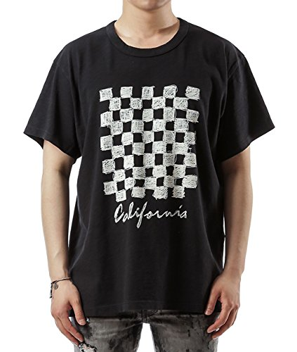 Wiberlux Amiri Men's California With Check Board Print T-Shirt M Black by Wiberlux