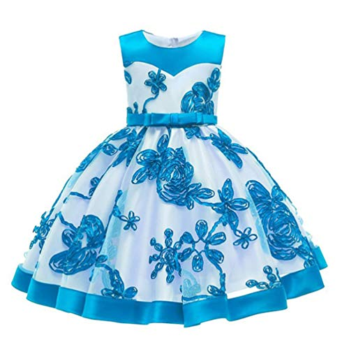 JIANLANPTT Newborn Baby Girl Toddler Halloween Carnival Clothing Little Girl Embroidery Lace Flower Dresses 12-18months Style 5 Lake Blue -