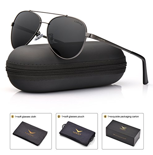 LUENX Men Women Aviator Sunglasses Polarized Grey Lens Gun Metal Frame with Accessories UV 400 (Gunmetal Polarized Shades)