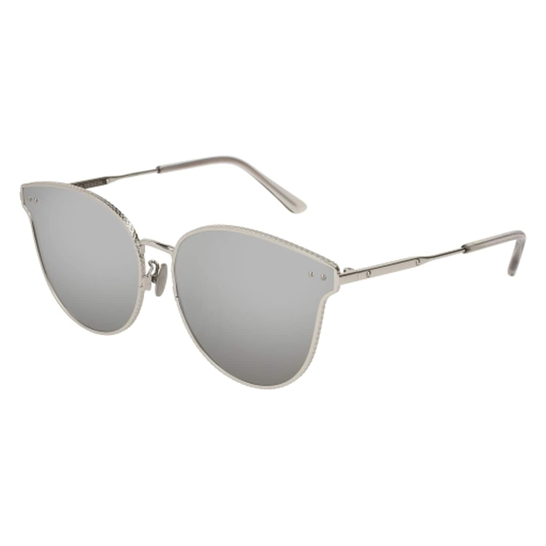 Bottega Veneta BV0157SK-002 Silver Cateye Sunglasses for Womens
