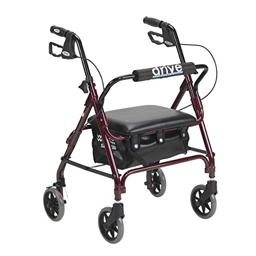 (MISC 4-Wheel Rollator Walkers Sitting Standing Rollatator 4-Wheeled Basket Senior Stand Sit Mobility Rollater Walker Folding Red Small Seniors Rollator-Walker )