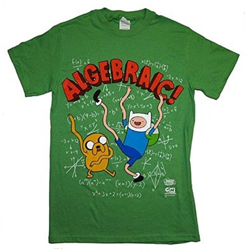 Adventure Time Algebraic Finn And Jake Cartoon T-Shirt Tee, Green, X-Large