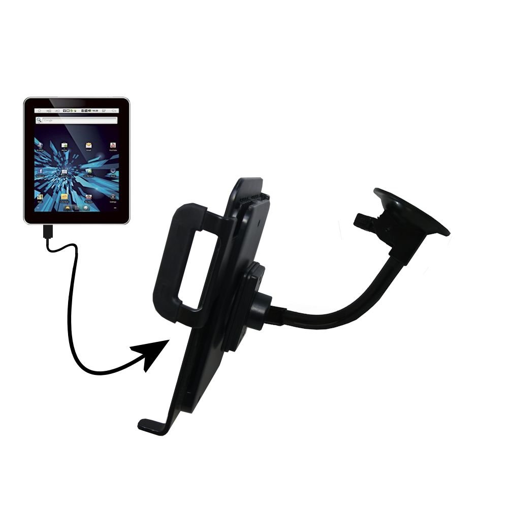 Unique Suction Cup Mount for the Elonex 702ET eTouch Android Tablet Tablet with Integrated Gooseneck Cradle Holder