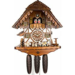 Schneider 15.5 Chalet 8-Day Movement Cuckoo Clock with Beer Drinkers