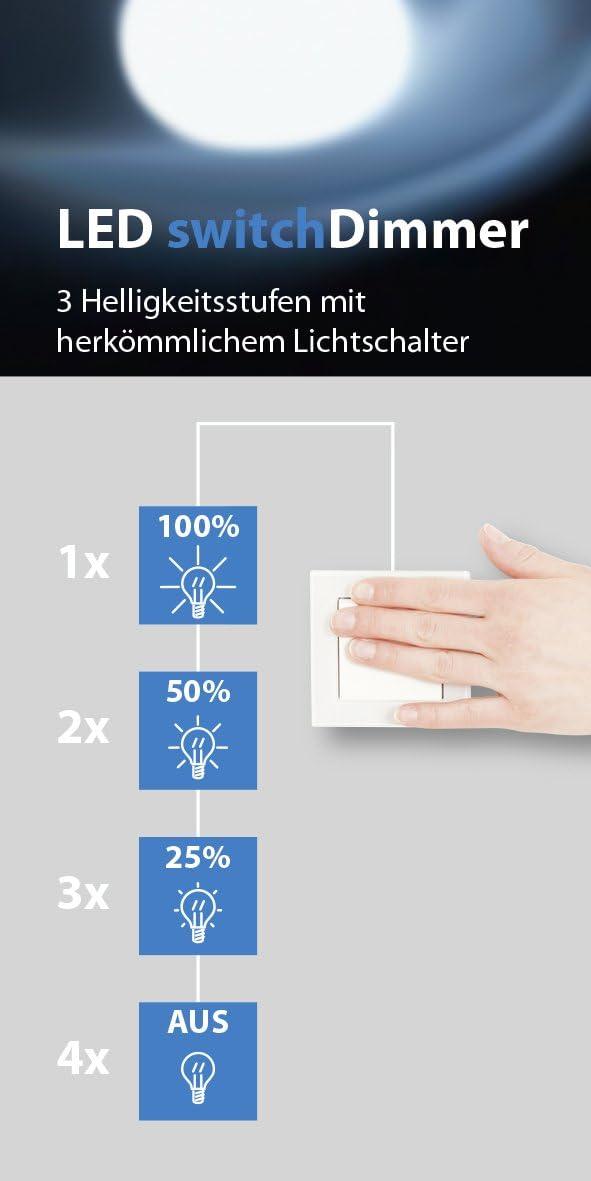 18.5 x 16.5 x 18 cm Lampes Integriert 4.2watts Chrom//Aluminium M/étal