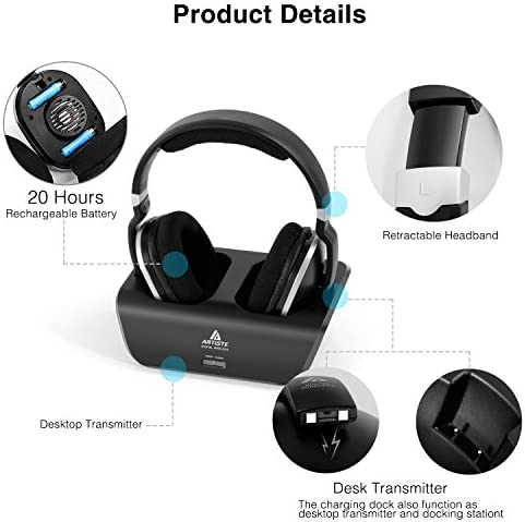 ARTISTE Wireless TV Headphones Over Ear Headsets – Digital Stereo Headsets with 2.4GHz RF Transmitter, Charging Dock, 100ft Wireless Range and Rechargeable 20 Hour Battery, Black