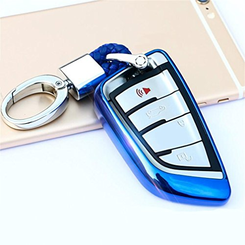 (DeAutoBug Keyless Entry Remote Case Smart Key Fob Holder Shell for BMW 2 Series 5 Series X1 X5 X6 7 Series (Blue))