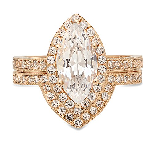 2.16 CT Marquise Brilliant Cut Simulated Diamond CZ Designer Solitaire Designer Pave Double Halo Bridal Wedding Anniversary Promise Ring band set Solid 14k Yellow Gold 14k Yellow Gold Marquise Band