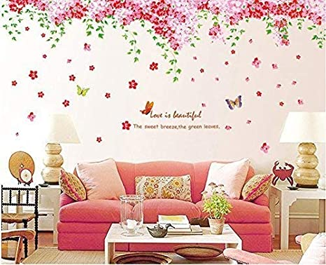 Amaonm Large Huge Fashion Pink Romantic Cherry Blossom Flower Vine  Butterfly Wall Corner Decal Wall Stickers Murals Wallpaper for Kids Girls  Bedroom ...