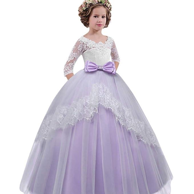 Vestidos de Fiesta Niñas, ❤ Modaworld Vestidos de Fiesta de Boda de Princesa de Manga Larga para bebé niña Vestido de Bowknot con Encaje de niña Traje de ...