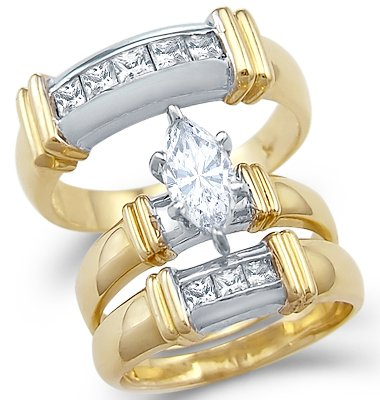 Size- 8.5 - Solid 14k 2 Tone Gold Marquise CZ Engagement ...