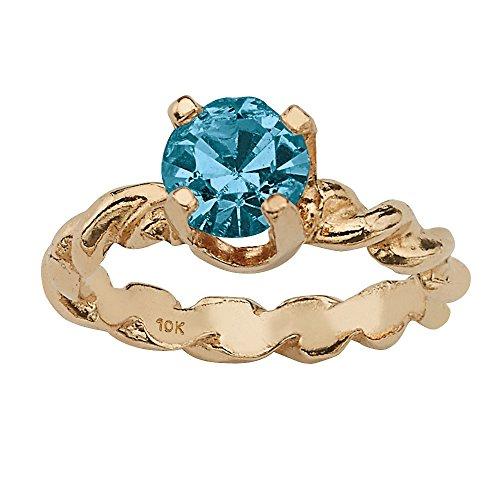 Palm Beach Jewelry 10K Yellow Gold Round Simulated Birthstone Charm Pendant (9mm) Month -