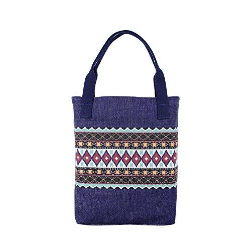 Miomao Women Tote Bag Canvas Portable Shoulder Bags Casual HandBag, Woven Shoulder Strape with Inner Pocket Go Verk Travel Shopping, Navy Blue