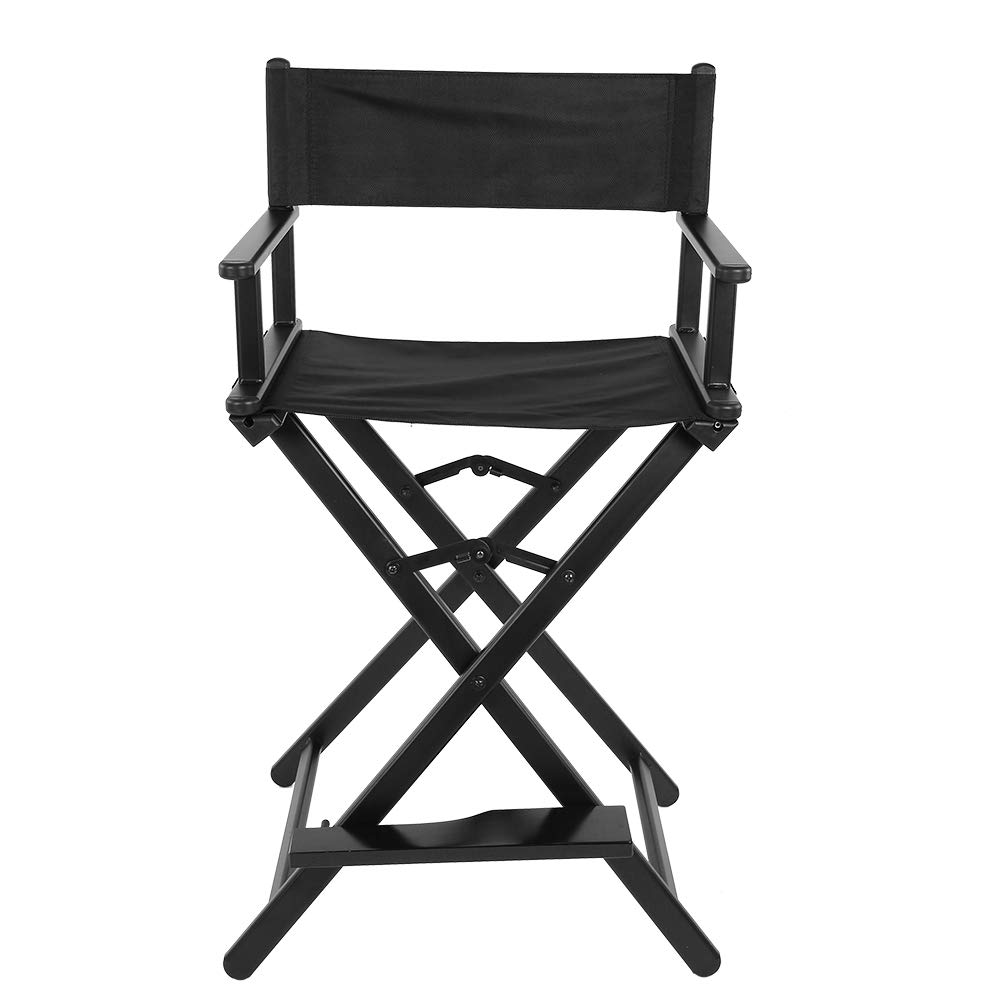 Zerone Foldable Height Chair Aluminum, 72 cm / 28.3 Inch Black Folding Aluminum Alloy Makeup Artist Painter Director High Chair with Pedal and Comfortable Backrest by Zerone