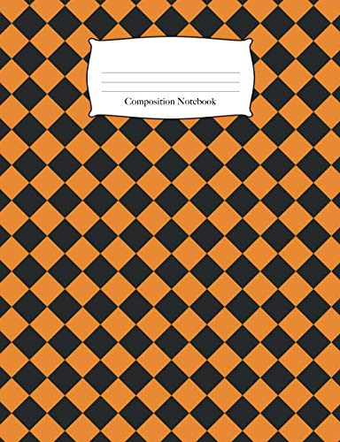(Composition Notebook: Halloween Checkered Pattern Wide Ruled Notebook (School Composition)