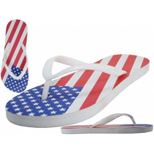 Lätt Usa Manar Oss Amerikanska Flaggan Flip Flops Sandaler Storlek Medium