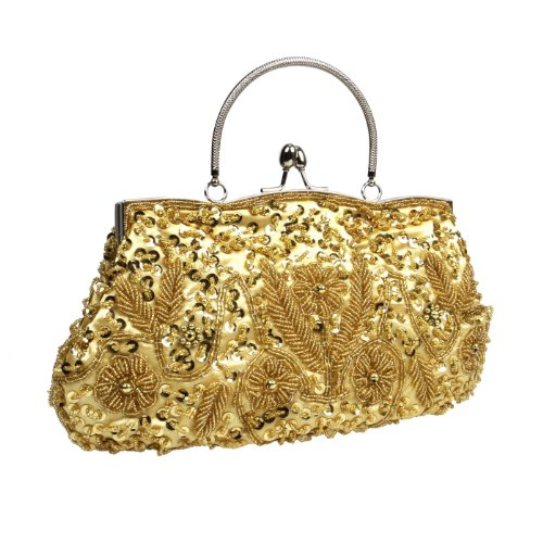 Lock Gold Beaded BMC Satin Kissing Sequin Clutch Metal Interior Frame Design Evening PrZdZwqY