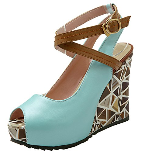 ENMAYER Womens Fashion Peep Toe High Wedged Heeled Platform Cross Buckled Up Pumps Blue wv9X6M