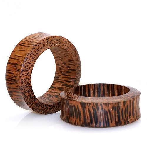 Coco Wood Hollow Design Organic Ear Tunnel Plug Double Flare - 5/8