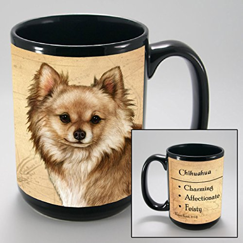 Dog Breeds (A-K) Chihuahua 15-oz Coffee Mug Bundle Depicting Long Haired Fawn with Non-Negotiable K-Nine Cash by Imprints Plus - Long Haired Santa