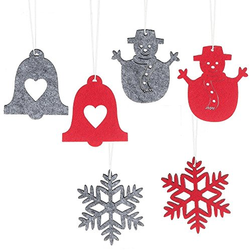 Set of 12 Midwest CBK Felt Cutout Ornaments - Snowman, Snowflake, and Bell