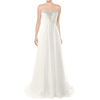 JAEDEN Wedding Dresses Beach Bridal Dresses Chiffon Wedding Gowns Strapless Bride Dress at Women's Clothing store