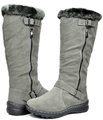 TRAUM-PAAR-Frauen Winter voll Pelz gefüttert Reißverschluss Schnee kniehohe Stiefel Kaninchengrau
