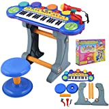 Costzon-Blue-Products-Musical-Kids-37-Key-Electronic-Keyboard-Organ-Piano-Microphone-Synthesizer-Stool