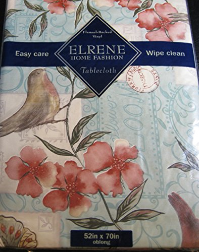 Flannel Back Vinyl Tabelcoths -Floral with Robins-By Elrene- Assorted Sizes -Square, Oblong and Round (52 x 90 ()