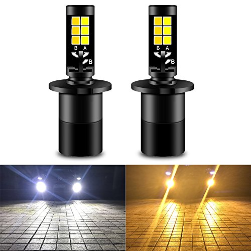 bs All-in-One Fog Lamps 35W 1900LM 6000K White 3000K Amber Yellow Dual Color Car Lights for DRL Fog Lights Not Headlight Pack of 2 ()