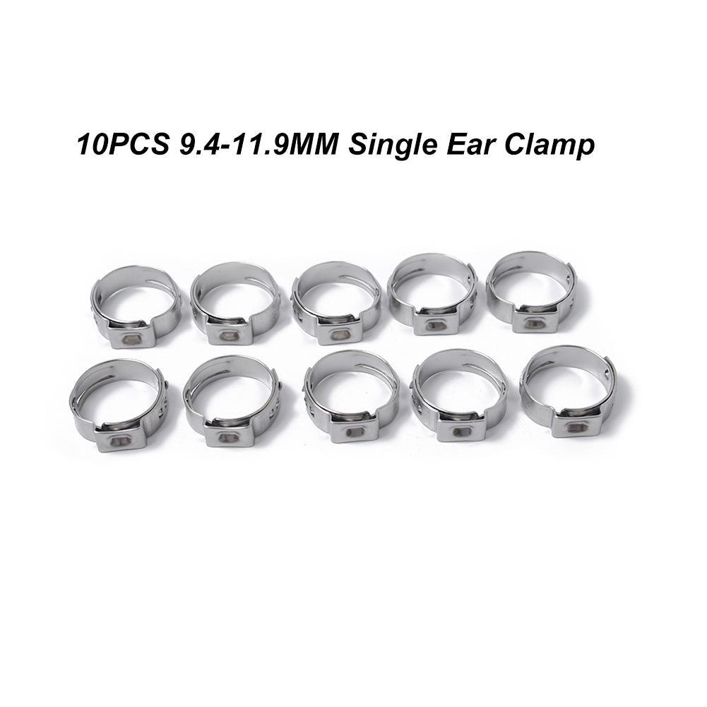 10 PCS Clip à Ressort Tuyau inox Serre-joints colliers de serrage 7.8-9.5MM oreille unique Ajustable Fixation Clips pour Fixer Tuyaux Souples et Durites Beatie