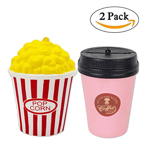 - 2PC Squishy Super Cute Jumbo Toys, Popcorn + Coffee Cup, Squeeze Toys Bag Cell Phone Strap Charms for Baby's Gift by Bagvhandbagro[2PC]