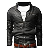 Men Stand Cut Collar Casual Biker Jacket Faux Leather Military Slim Fit Zipped Coat Outerwear M Black