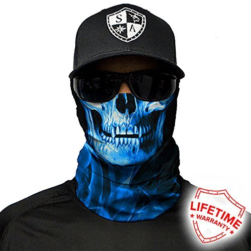 SA Company Face Shield Micro Fiber Protect From Wind, Dirt and Bugs. Worn as a Balaclava, Neck Gaiter & Head Band For Hunting, Fishing, Boating, Cycling, Paintball and Salt Lovers. - Blue Crow by SA Company