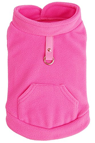 EXPAWLORER Fleece Autumn Winter Cold Weather Dog Vest Harness Clothes with Pocket , Hot Pink (007 Costume Designer)