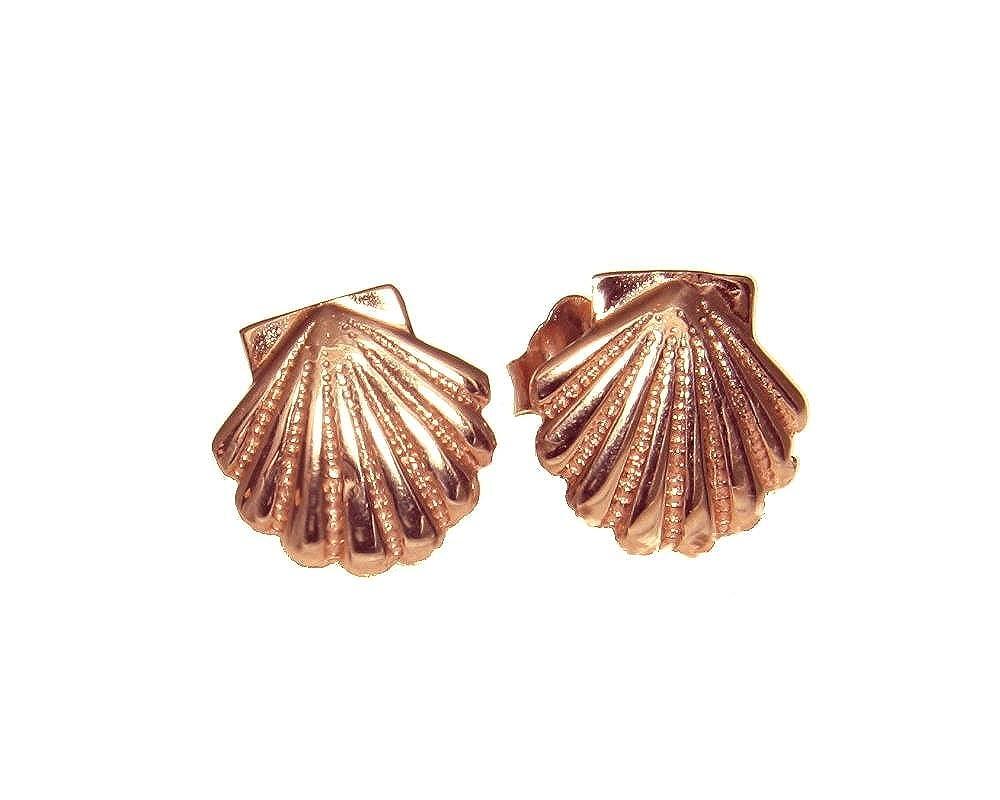 14K solid pink rose gold Hawaiian 9mm sea sunrise shell stud post earrings