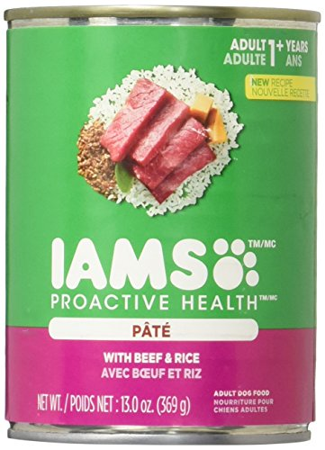 DISCONTINUED: IAMS PROACTIVE HEALTH Adult Multipack With Beef and Rice Pate Wet Dog Food 13.0 Ounces (Pack of 6)
