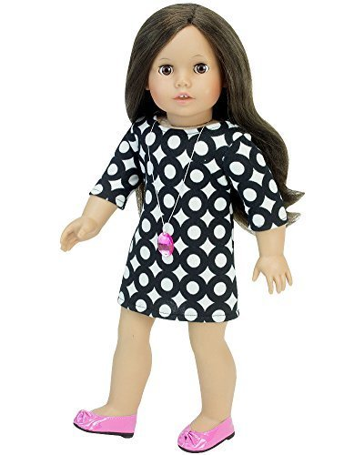 18 Inch Doll Outfit, Stylish Black & White Mod Doll Dress & Pink Jewel Necklace! Perfect for your 18 Inch American Girl Doll Clothes & More! Geometric Patterned Black & White Mod Dress (Sixties Outfit)