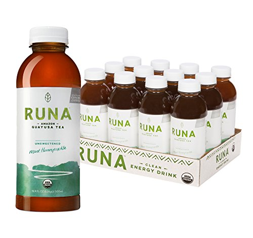RUNA Clean Energy Organic Guayusa Iced Tea, Unsweetened Mint Honeysuckle, 16.9 Ounce (Pack of 12) (Sparkling Clean Mint)
